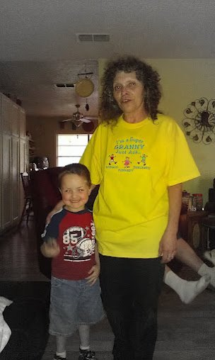 Granny, wearing her new SUPER GRANDMA personalized t-shirt from The Babbling Baby, and loving on The Boy