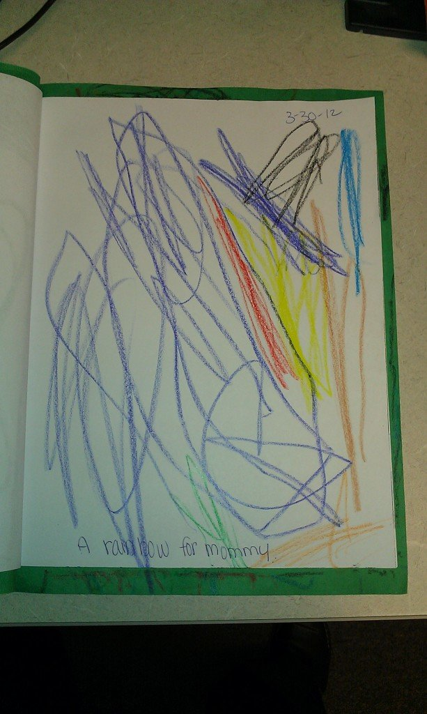 "The Boy's journal page for March 30, 2012 - ""I made a Rainbow for Mommy!!"""