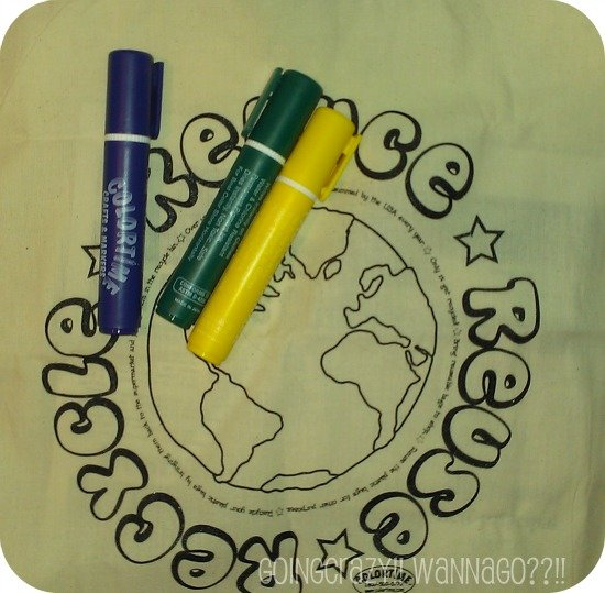 Recycle Tote and Markers from Colortime Crafts And Markers™