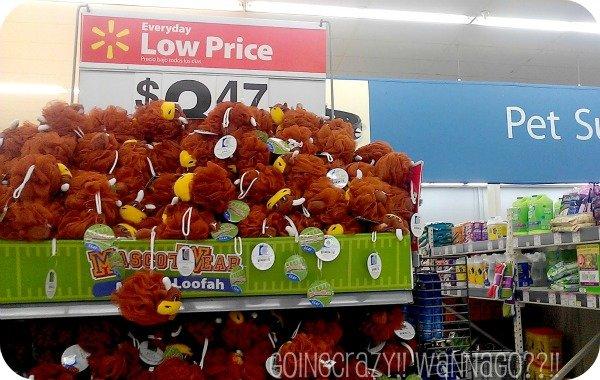 #MascotWear loofah display at Walmart located by pet supplies