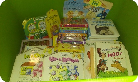 lots of board books in the BIG GREEN TUB #NickCFK