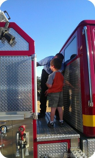 on the fire truck