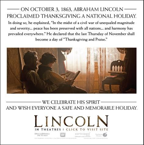 Happy Thanksgiving - LINCOLN in theaters {Disney bloggers' reviews}