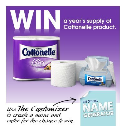 Win a year's supply of Cottonelle