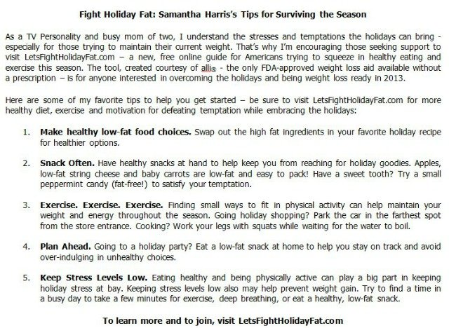 Tips to Fight Holiday Fat from Samantha Harris