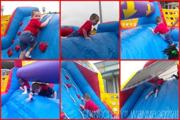 bounce house and slide at Breakfast with Santa #ChristmasHustleNBustle