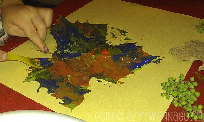 press painted leaves on paper