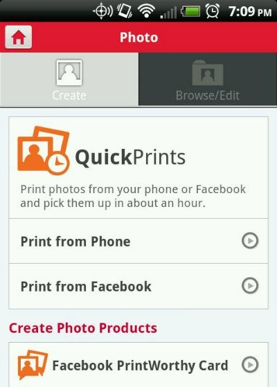 Mobile prints menu Walgreen app #HappyHealthy