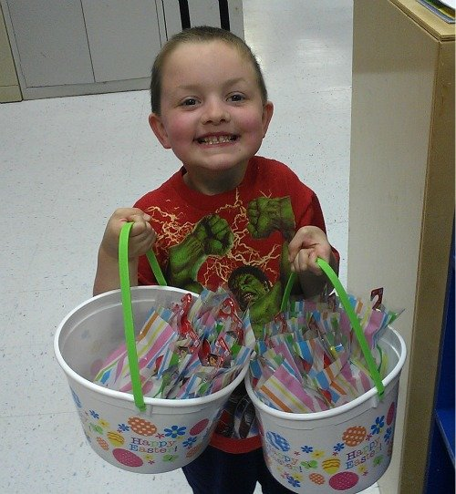 My boy donated two Easter baskets of dental hygiene products to his daycare #Colgate4Kids