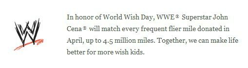 World Wish Day on April 29 {John Cena matches airline miles donated} #wwemoms