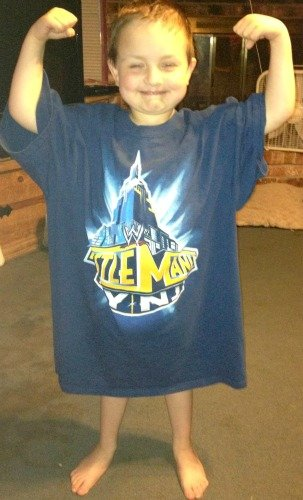 my boy in his WrestleMania shirt #wwemoms