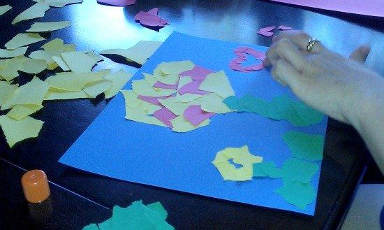 Aunt B mosaic art paper flowers