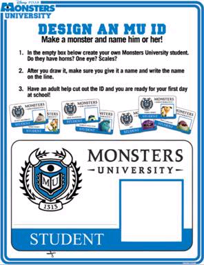 Design a Monsters University ID badge