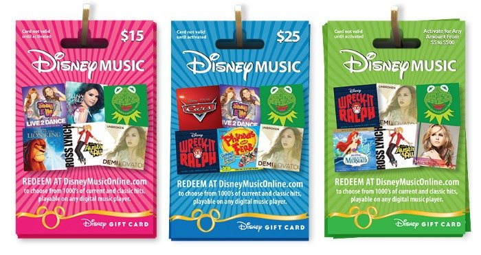Disney music cards in $15 $20 and custom variable amounts