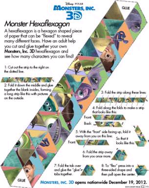 Monsters University Hexaflexagon
