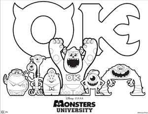 Monsters University coloring page 1