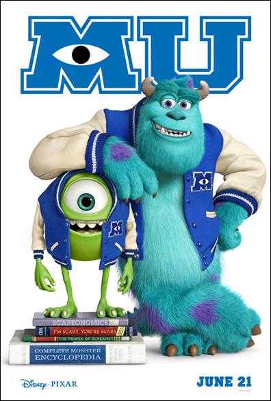 Monsters University poster with books