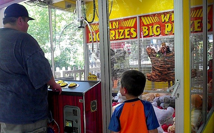 giant crane game at Six Flags Over Texas