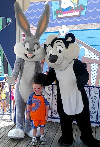 my boy with Bugs Bunny and Pepe LePew