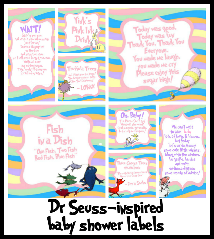 Oh! The Places You'll Go-inspired baby shower labels