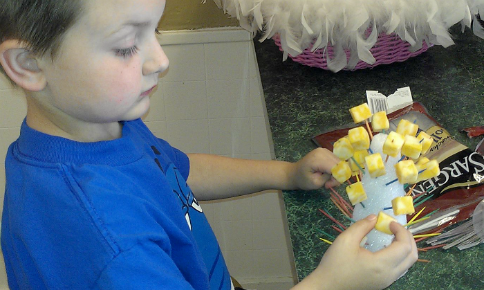Making Three Cheese Trees with toothpicks and cheese squares