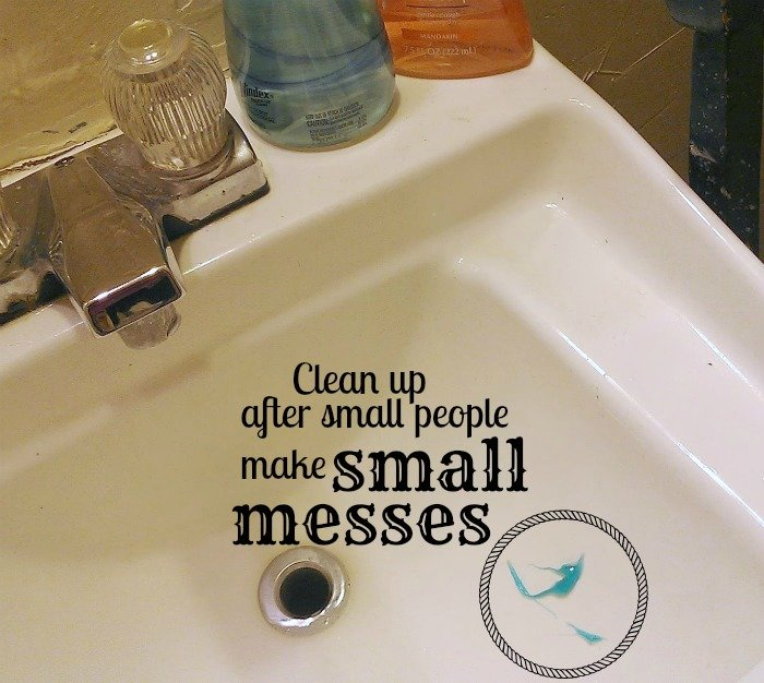 small messes in the bathroom