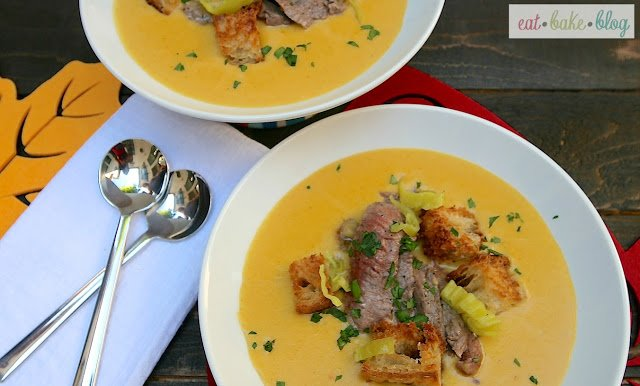 Cheesesteak and Ale Soup - Eat Bake Blog {recipe}