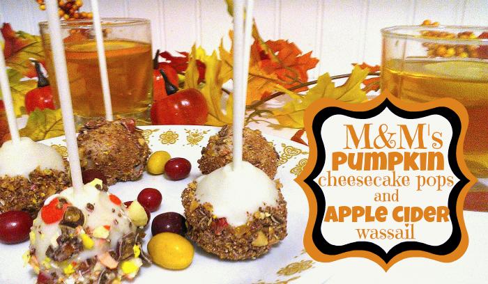M&M's pumpkin cheesecake pops and apple cider wassail #HarvestFun #shop #cbias