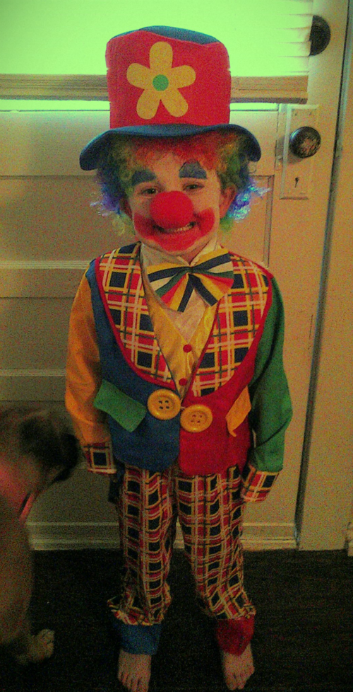 Smiley boy with the most adorable clown costume we could find!