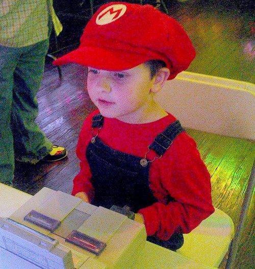Mario ring bearer in the Gamer Wedding #GamerWedding