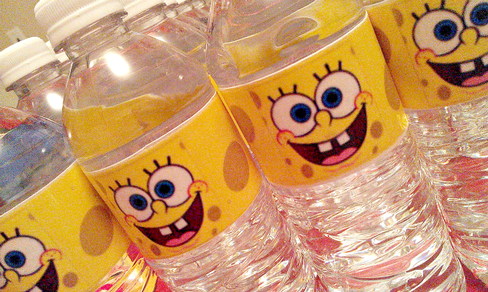 DIY Custom SpongeBob SquarePants water bottle labels