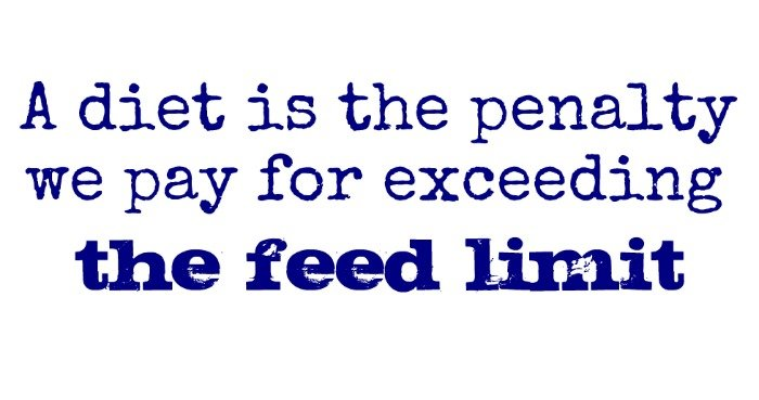"""A diet is the penalty we pay for exceeding the feed limit."" ~Unknown"