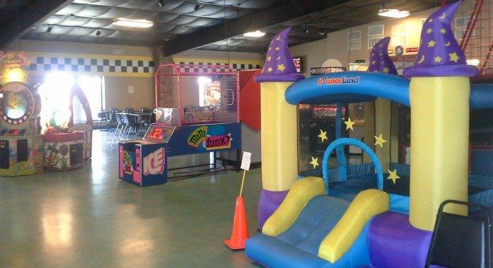 arcade and bounce house at Dogwood Junction in Palestine, TX