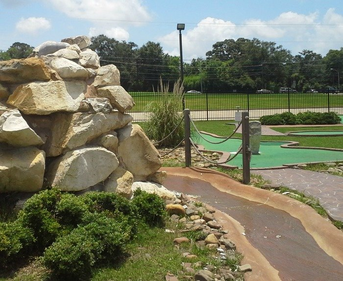 creek in mini golf at Dogwood Junction in Palestine, TX