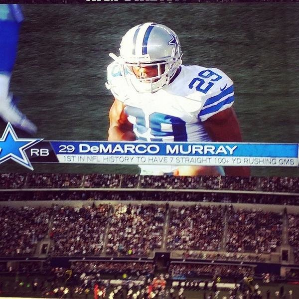 DeMarco Murray makes an NFL record for 7 straight games with 100+ rushing yards.