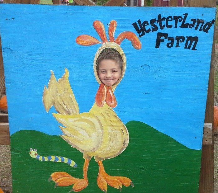 Turn into a chicken at Yesterland Farm in Canton, TX