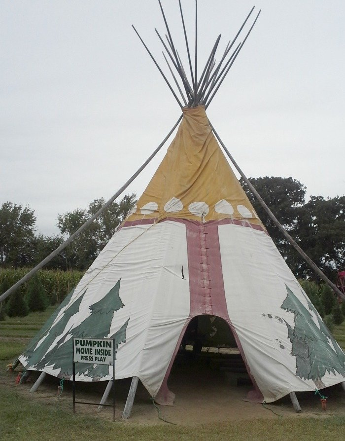 Watch a pumpkin movie in a teepee at Yesterland Farm in Canton, TX
