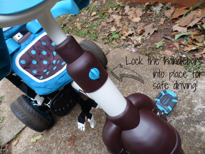 Lock the handlebars in place so your toddler doesn't veer from the path.