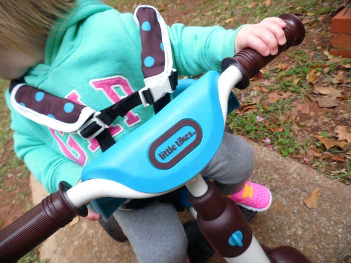 Safety harnesses on Little Tike 4-in-1 Trike