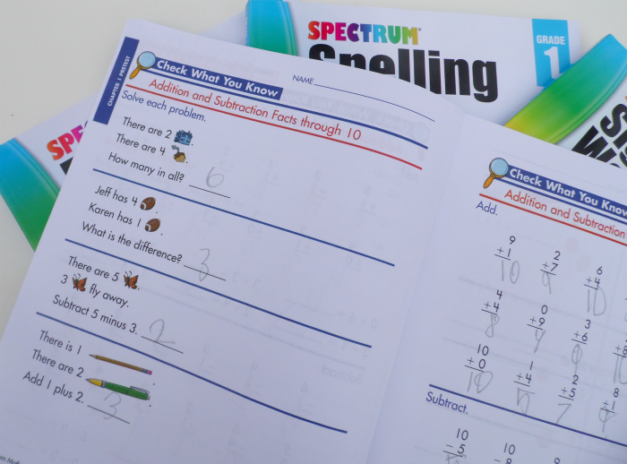 Word problems in Spectrum Math workbooks - 1st grade