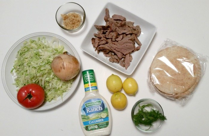 ingredients for Steak Gyros with Tzatziki Sauce #WhatsYourRanch #CollectiveBias #ad