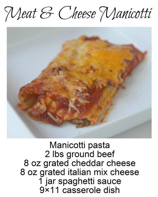 Meat & Cheese Manicotti recipe