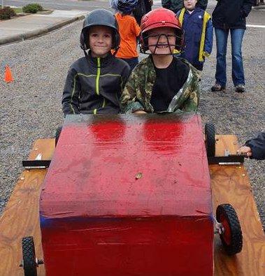 Cardboard car derby with Boy Scouts