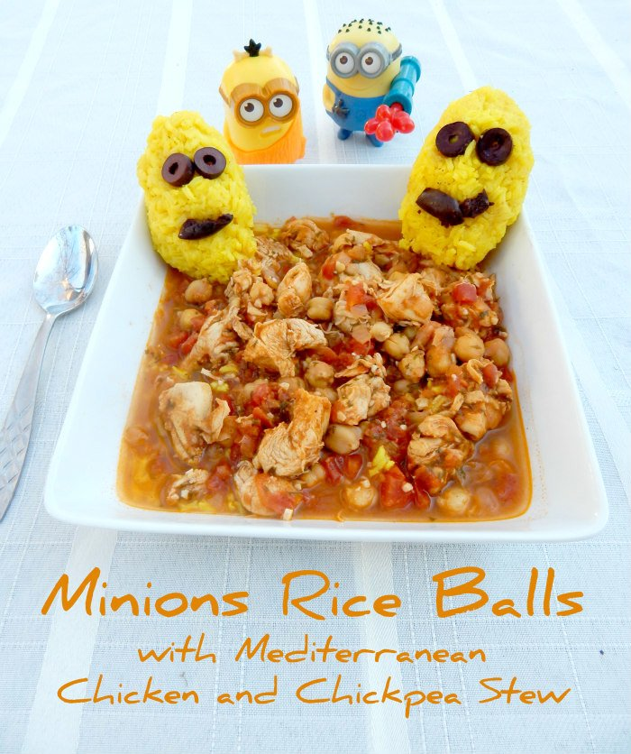 Minions Rice Balls with Mediterranean Chicken and Chickpea Stew #MinionsMovieNight [ad] #CollectiveBias